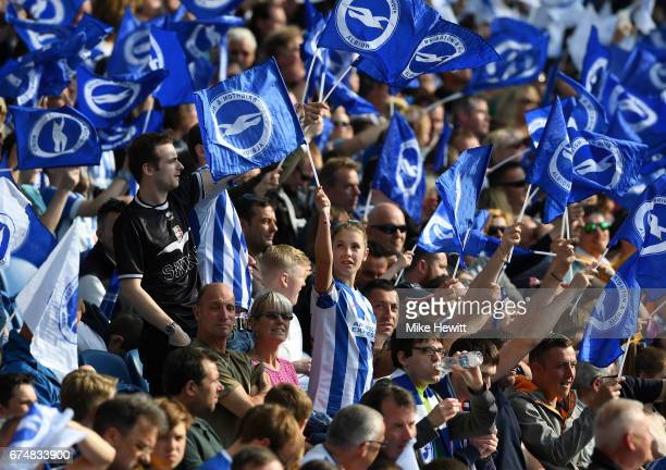 Brighton fans wave flags prior to the Sky Bet Championship match between Brighton Hove Albion and Bristol City at Amex Stadium on April 29 2017 in...