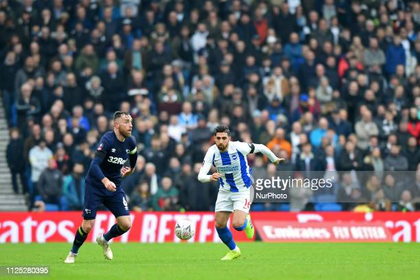 Brighton forward Alireza Jahanbakhsh chase down Derby County defender Richard Keogh during the Emirates FA Cup 5th round tie between Brighton and...