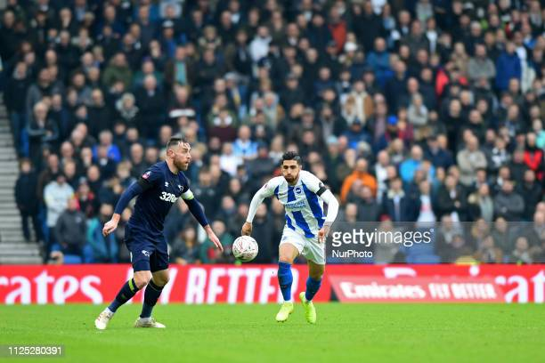 Brighton forward Alireza Jahanbakhsh chases down Derby County defender Richard Keogh the Emirates FA Cup 5th round tie between Brighton and Hove...