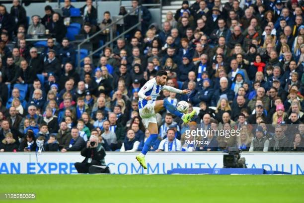 Brighton forward Alireza Jahanbakhsh controls the cross during the Emirates FA Cup 5th round tie between Brighton and Hove Albion and Derby County at...