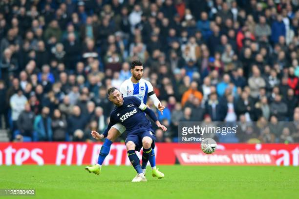 Brighton forward Alireza Jahanbakhsh hassles Derby County defender Richard Keogh during the Emirates FA Cup 5th round tie between Brighton and Hove...