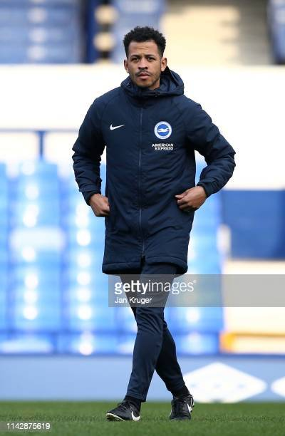 Brighton & Hove Albion assistant coach Liam Rosenior looks on ahead of the Premier League 2 match between Everton and Brighton & Hove Albion at...
