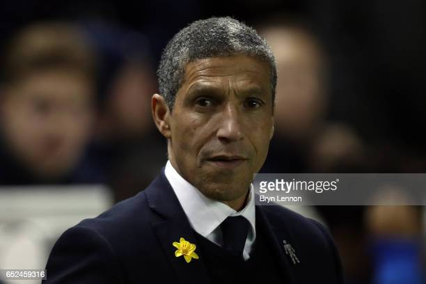 Brighton Hove Albion manager Chris Hughton looks on prior to the Sky Bet Championship match between Brighton Hove Albion and Derby County at the Amex...