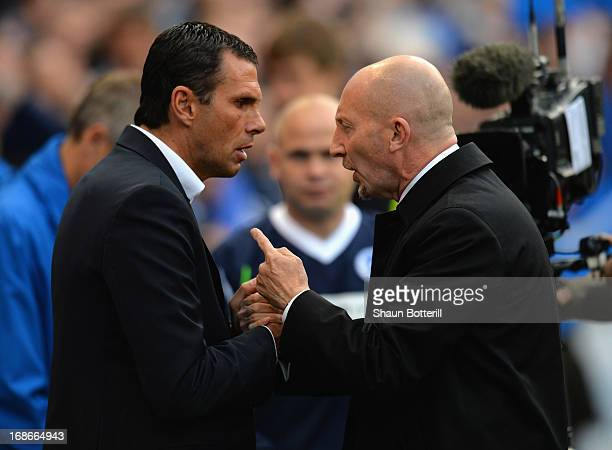 Brighton Hove Albion manager Gus Poyet and Crystal Palace manager Ian Holloway meet before the npower Championship play off semi final second leg...