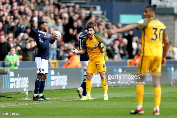 Brighton Hove Albion's Alireza Jahanbakhsh reacts on the pitch during the FA Cup quarter final match at The Den London