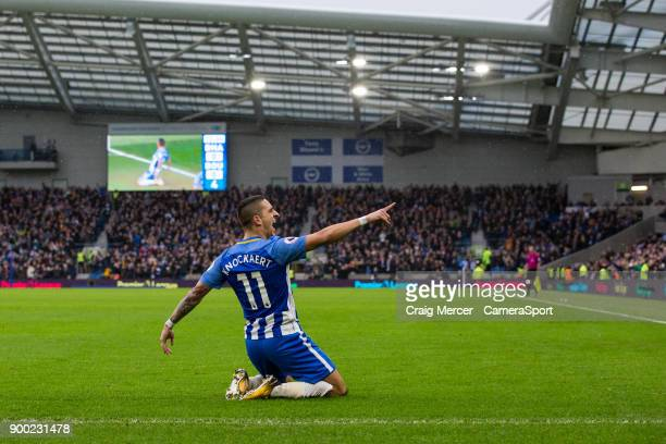 Brighton Hove Albion's Anthony Knockaert celebrates scoring the opening goal during the Premier League match between Brighton and Hove Albion and AFC...