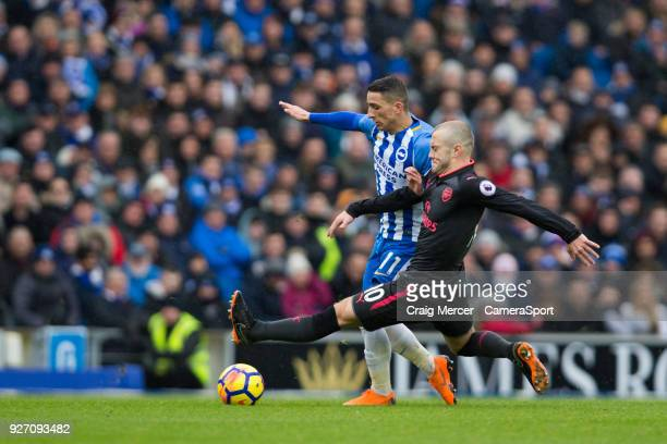 Brighton Hove Albion's Anthony Knockaert is fouled by Arsenal's Jack Wilshere during the Premier League match between Brighton and Hove Albion and...