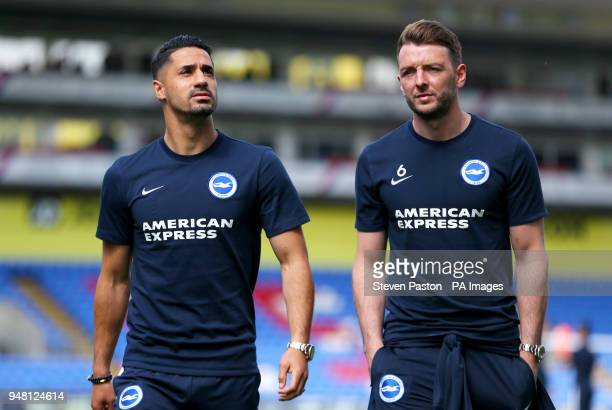 Brighton Hove Albion's Beram Kayal and Brighton Hove Albion's Dale Stephens ahead of the match