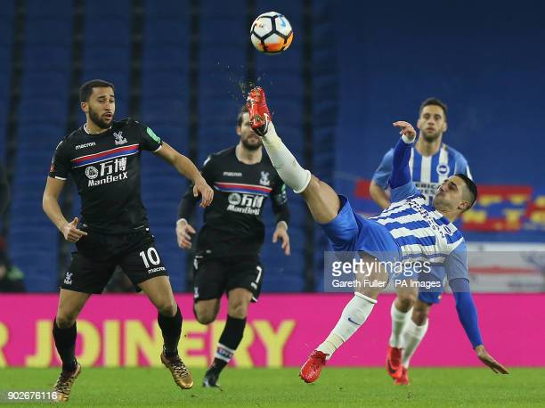 Brighton Hove Albion's Beram Kayal and Crystal Palace's Andros Townsend battle for the ball during the Emirates FA Cup Third Round match at the AMEX...