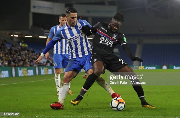 Brighton Hove Albion's Beram Kayal and Crystal Palace's Bakary Sako battle for the ball during the Emirates FA Cup Third Round match at the AMEX...