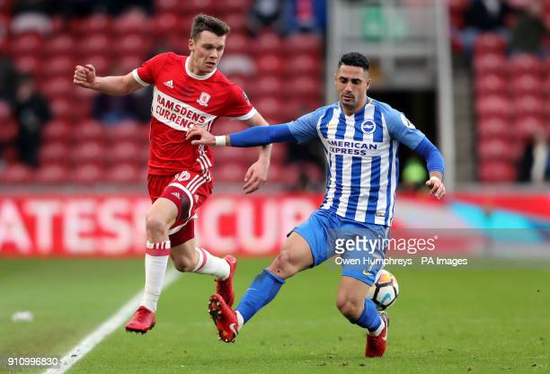 Brighton Hove Albion's Beram Kayal and Middlesbrough's Jonny Howson battle for the ball during the Emirates FA Cup fourth round match at the...