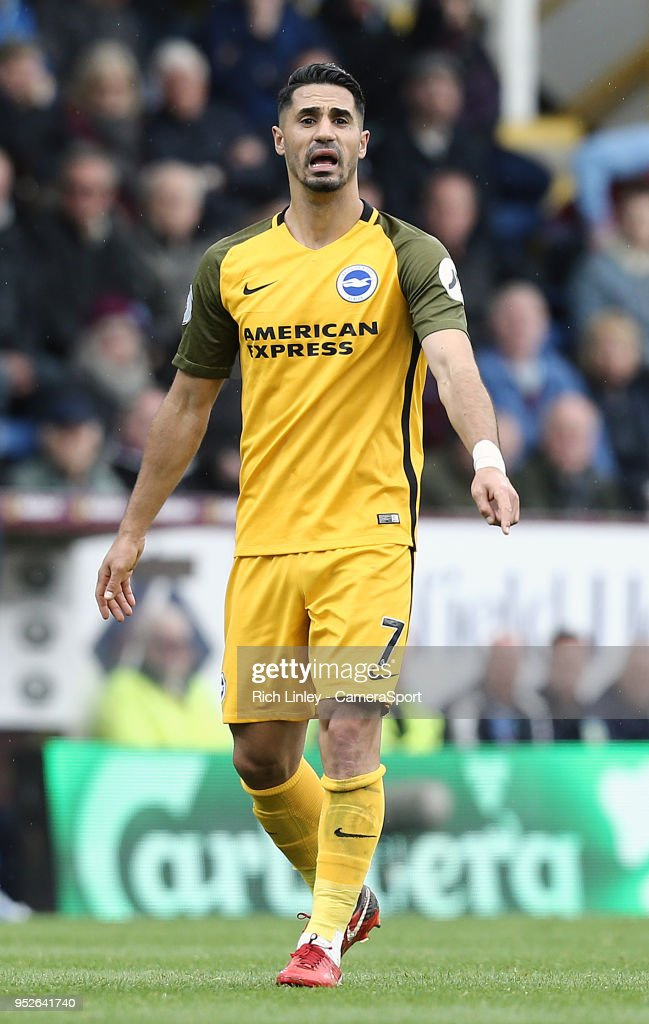 Brighton & Hove Albion's Beram Kayal during the Premier League match between Burnley and Brighton and Hove Albion at Turf Moor on April 28, 2018 in Burnley, England.