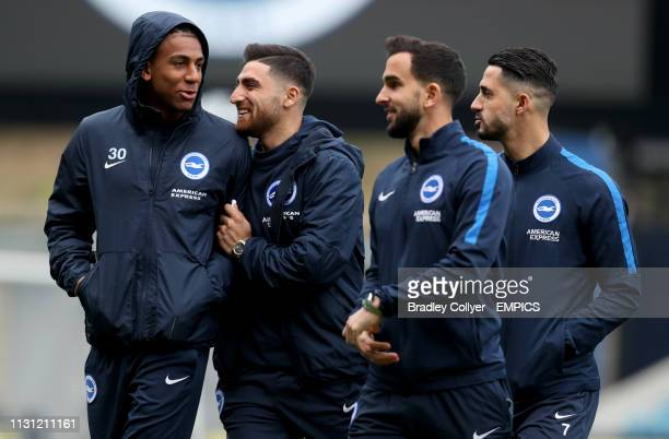 Brighton Hove Albion's Bernardo and Alireza Jahanbakhsh check out the pitch ahead of their match Millwall v Brighton and Hove Albion FA Cup Quarter...