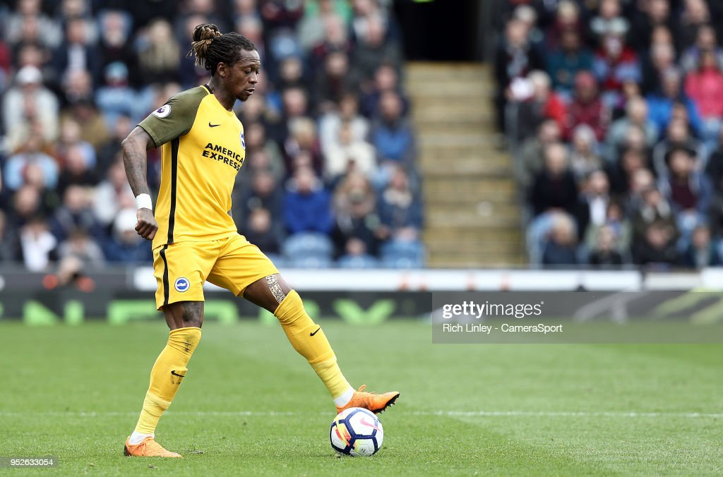 Brighton & Hove Albion's Gaetan Bong during the Premier League match between Burnley and Brighton and Hove Albion at Turf Moor on April 28, 2018 in Burnley, England.