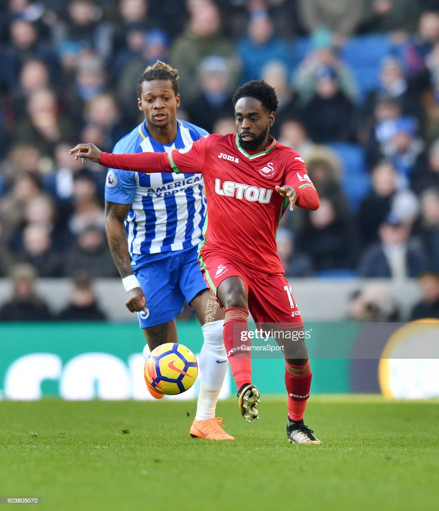 Brighton & Hove Albion's Gaetan Bong (left) vies for possession with Swansea City's Nathan Dyer (right) during the Premier League match between Brighton and Hove Albion and Swansea City at Amex Stadium on February 24, 2018 in Brighton, England.