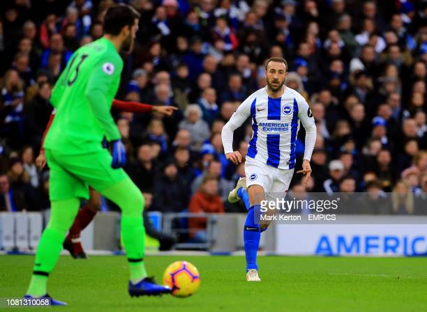 Brighton Hove Albion's Glenn Murray attempts to close down Liverpool goalkeeper Alisson Becker Brighton and Hove Albion v Liverpool Premier League...