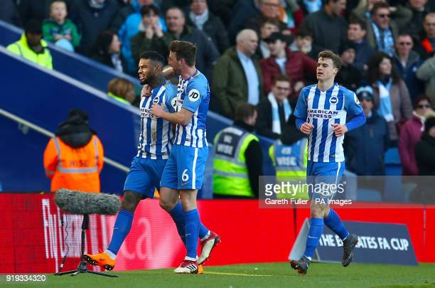 Brighton Hove Albion's Jurgen Locadia celebrates scoring his side's first goal of the game with team mates during the Emirates FA Cup Fifth Round...