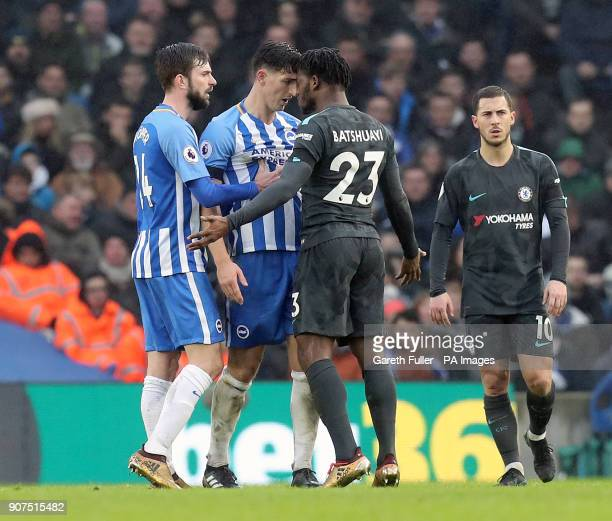 Brighton Hove Albion's Lewis Dunk and Chelsea's Michy Batshuayi exchange words during the Premier League match at the AMEX Stadium Brighton