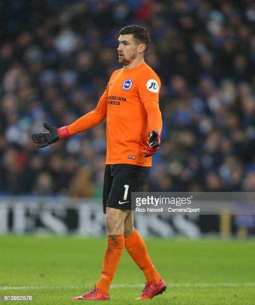 Brighton Hove Albion's Matthew Ryan during the Premier League match between Brighton and Hove Albion and West Ham United at Amex Stadium on February...