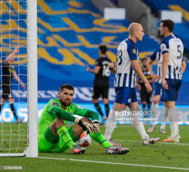 Brighton Hove Albion's Matthew Ryan looks on in frustration after conceding a 2nd goal during the Premier League match between Brighton Hove Albion...