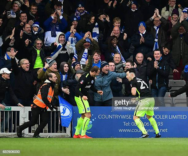 Brighton Hove Albion's Richie Towell right celebrates scoring the opening goal with teammate Glenn Murray during the Emirates FA Cup Fourth Round...