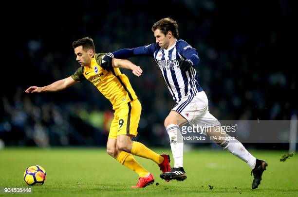 Brighton Hove Albion's Sam Baldock and West Bromwich Albion's Grzegorz Krychowiak battle for the ball during the Premier League match at The...
