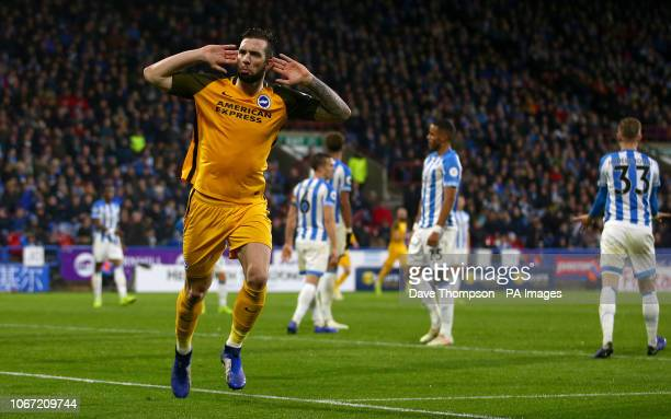 Brighton Hove Albion's Shane Duffy celebrates scoring his side's first goal of the game during the Premier League match at the John Smith's Stadium...