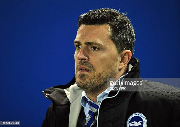 Brighton Hove Albion's Spanish manager Oscar Garcia is pictured before the start of the English FA Cup fifth round football match between Brighton...