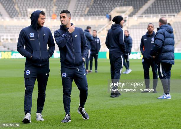 Brighton Hove Albion's Tomer Hemed and Beram Kayal during the prematch warm up before the Premier League match at St James' Park Newcastle