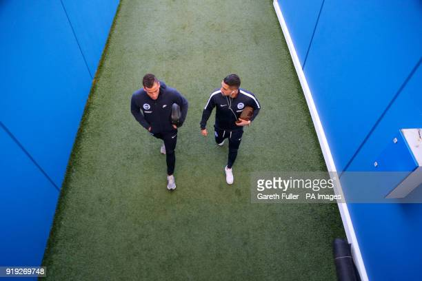 Brighton Hove Albion's Tomer Hemed and Brighton Hove Albion's Beram Kayal arrive ahead of the Emirates FA Cup Fifth Round match at The AMEX Stadium...