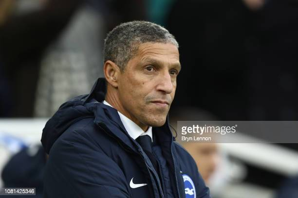 Brighton Hove Manager Chris Hughton looks on prior to the Premier League match between Brighton Hove Albion and Liverpool FC at American Express...