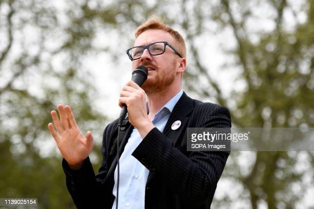 Brighton Labour MP Lloyd RussellMoyle speaking at the Extinction Rebellion march in London Extinction Rebellion protesters march from Marble Arch to...
