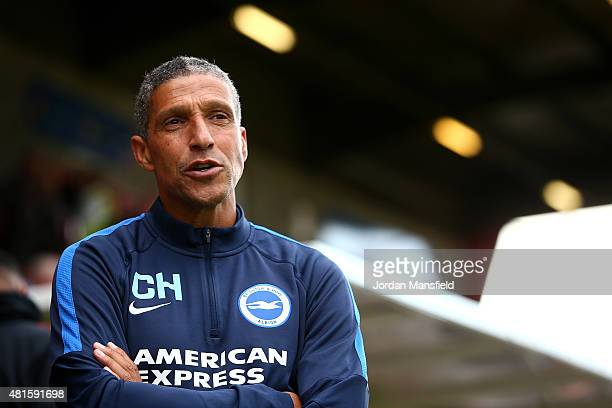 Brighton manager Chris Hughton looks on ahead of the Pre Season Friendly between Crawley Town and Brighton Hove Albion at the Checkatradecom Stadium...