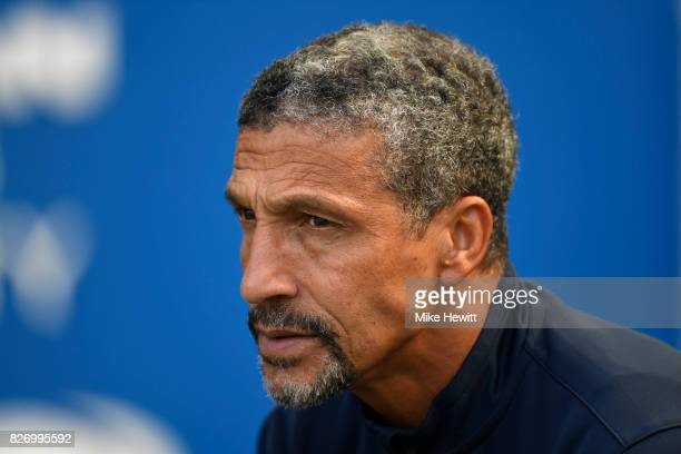 Brighton manager Chris Hughton looks on during a Pre Season Friendly between Brighton Hove Albion and Atletico Madrid at Amex Stadium on August 6...