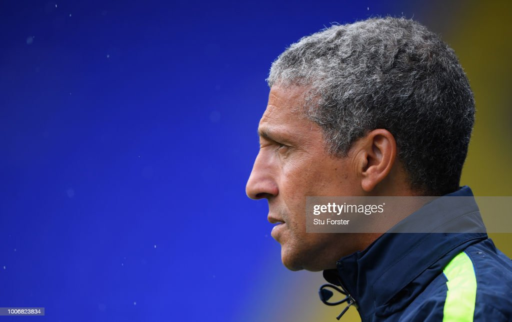 Brighton manager Chris Hughton looks on during the friendly match between Birmingham City and Brighton and Hove Albion at St Andrew's Trillion Trophy Stadium on July 28, 2018 in Birmingham, England.