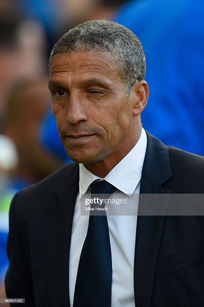 Brighton manager Chris Hughton looks on during the Sky Bet Championship match between Brighton & Hove Albion and Nottingham Forest at Amex Stadium on August 7, 2015 in Brighton, England.