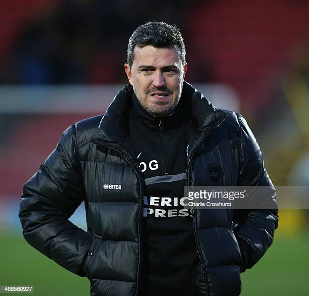 Brighton manager Oscar Garcia during the Sky Bet Championship match between Watford and Brighton Hove Albion at Vicarage Road on February 02 2014 in...