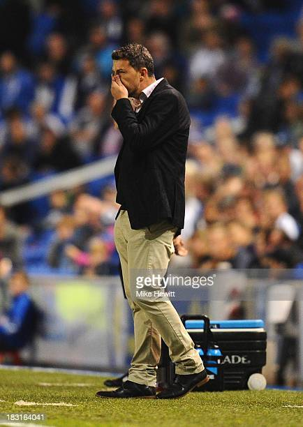 Brighton manager Oscar Garcia looks on during the Sky Bet Championship match between Brighton Hove Albion and Nottingham Forest at Amex Stadium on...