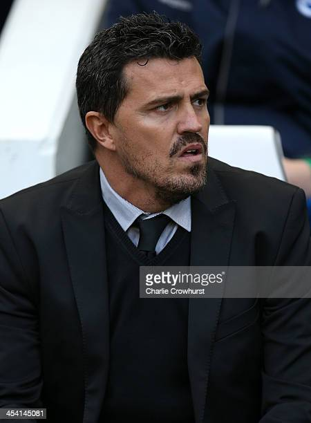 Brighton manager Oscar Garcia looks on during the Sky Bet Championship match between Brighton and Hove Albion and Leicester City at The Amex Stadium...