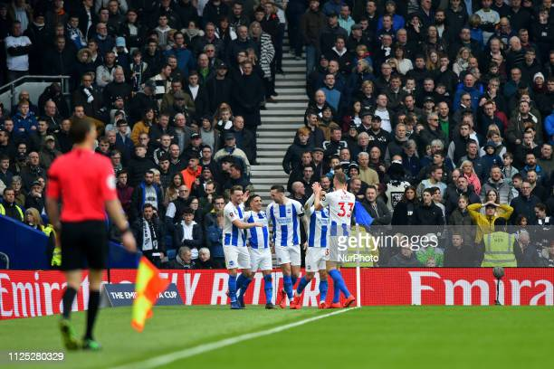 Brighton midfielder Anthony Knockaert celebrates his goal during the Emirates FA Cup 5th round tie between Brighton and Hove Albion and Derby County...