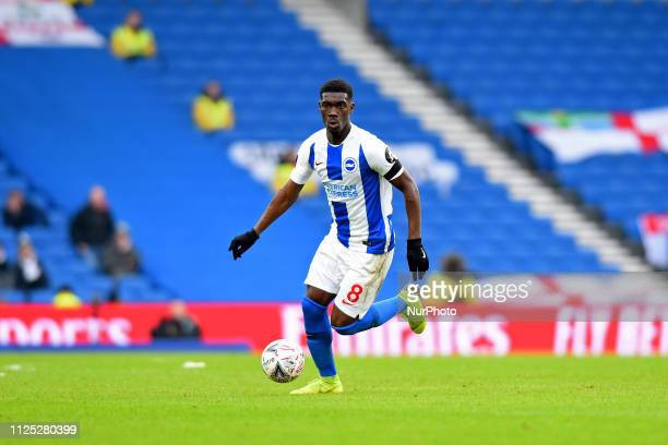 Brighton midfielder Yves Bissouma in action during the Emirates FA Cup 5th round tie between Brighton and Hove Albion and Derby County at the...