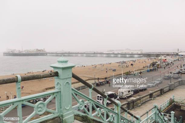 brighton pier against clear sky - bortes stock pictures, royalty-free photos & images
