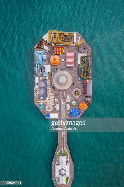 brighton pier as seen from directly above, england, united kingdom - bizarre stock pictures, royalty-free photos & images
