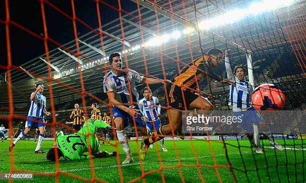 Brighton player Leonardo Ulloa celebrates the first Brighton goal during the FA Cup Fifth round replay between Hull City and Brighton Hove Albion at...
