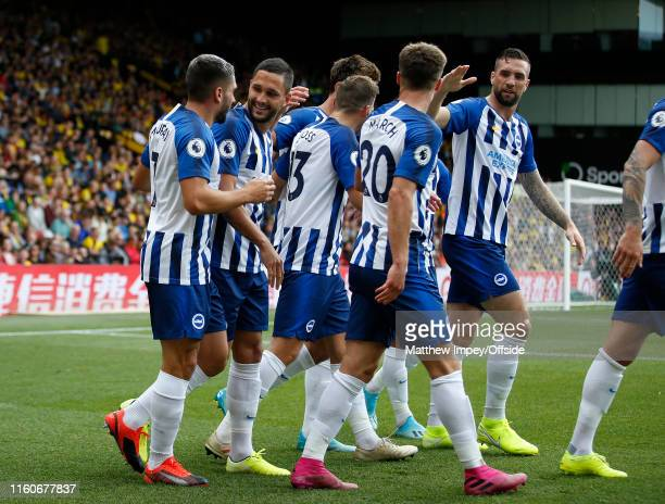 Brighton players celebrate their 2nd goal scored by Florin Andone during the Premier League match between Watford FC and Brighton & Hove Albion at...