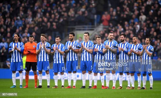 Brighton players remember exfootballer Cyrille Regis who passed away earlier this week prior to the Premier League match between Brighton and Hove...