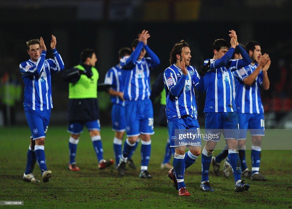 Brighton players salute their fans at the end of the FA Cup Sponsored by E.ON 4th Round match between Watford and Brighton & Hove Albion at Vicarage Road on January 29, 2011 in Watford, England.