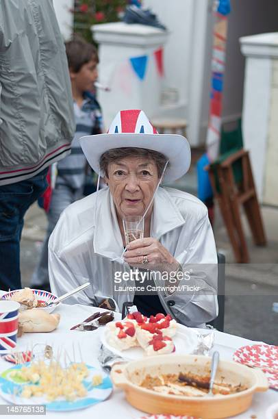 Brighton resident takes part in a street party party in Stirling Place to celebrate the Diamond Jubilee of Queen Elizabeth II Juine 4 2012