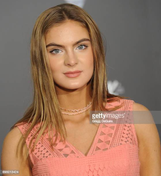 Brighton Sharbino arrives at the premiere of Disney And Pixar's 'Cars 3' at Anaheim Convention Center on June 10 2017 in Anaheim California