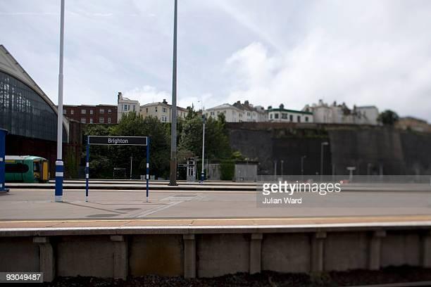 brighton station platform - railroad station platform stock pictures, royalty-free photos & images